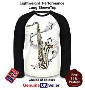 Saxophone-T-Shirt-Long-Sleeve-Saxophone-T-Shirt-Sax-Tee-Men-039-s-Top