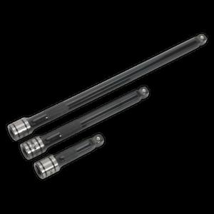 New-AK7691-Sealey-PREMIER-BLACK-Wobble-Rigid-Extension-Bar-Set-3pc-3-8-034-Sq-Drive