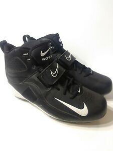 Nike-Boss-High-Top-Lace-Up-Black-White-Football-Cleats-Mens-US-14