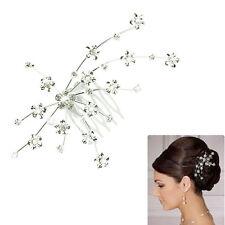 Ladies Silver Bridal Hair Comb Wedding Flower Crystal Rhinestone Diamante Clip
