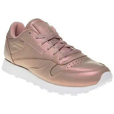 New Womens Reebok Pink Metallic Classic Leather Pearlized Trainers Retro Lace Up