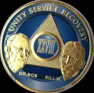 AA Founders 7 Year Medallion Sobriety Chip Gold /& Ocean Breeze Blue Token Coin