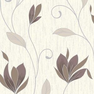 Image Is Loading Vymura Synergy Glitter Floral Wallpaper Cream Brown Silver