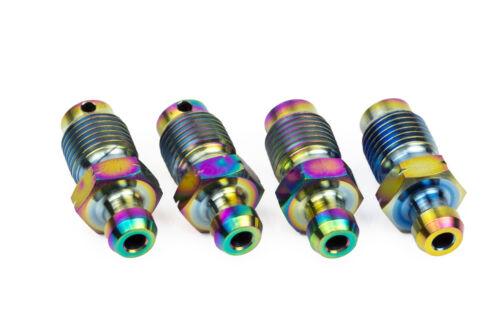 4x Titanium Bleed Nipple Screws M10 x 1.0 Rainbow Brembo Calipers Subaru STI Evo