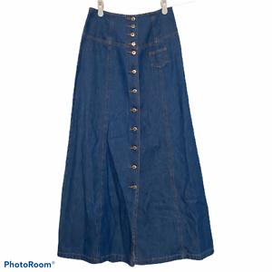 Together-Long-Denim-Jean-Skirt-Button-Front-Lace-Up-Back-Modest-Boho-Size-4