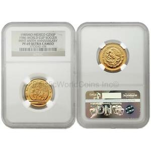 Mexico-1985-1986-World-Cup-Soccer-Games-250-Pesos-1-4-oz-Gold-NGC-PF69