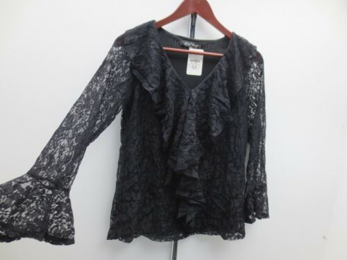 Slinky Brand Lace Ruffle Tunic Black