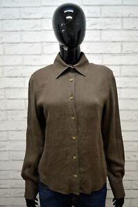 Camicia-ARMANI-JEANS-100-LINO-Donna-M-Maglia-Blusa-Shirt-Manica-Lunga-Marrone