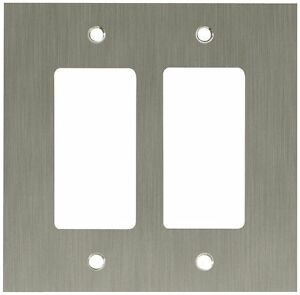 64927 brushed nickel concave double gfci cover wall plate ebay. Black Bedroom Furniture Sets. Home Design Ideas