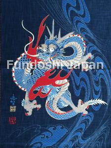 """Japanese 'NOREN' Print-Tapestry Wall-Hanging """"DRAGON"""" Indigo Made in Japan"""