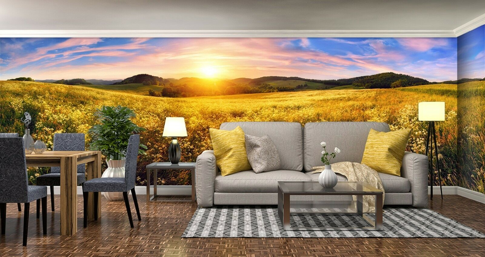 3D sunrise sky field Wall Paper Print Decal Decal Decal Wall Deco Indoor wall Mural 65bd99