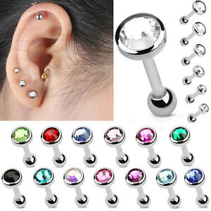 x1 Triple Crystal Barbell stainless steel cartilage helix tragus body jewellery
