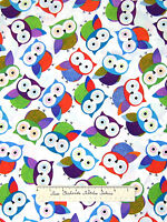 Timeless Treasures Fabric - Tossed Purple Blue Green Owls White C1478 Yards