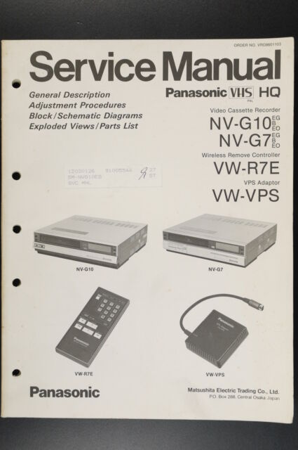Panasonic Nv G7  Vw  Vps Original Service Manual