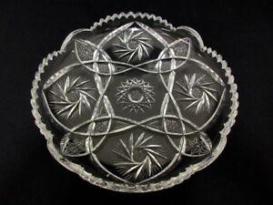 Bohemian-Czech-EGERMANN-crystal-glass-diamond-cut-clear-serving-tray-plate-cake