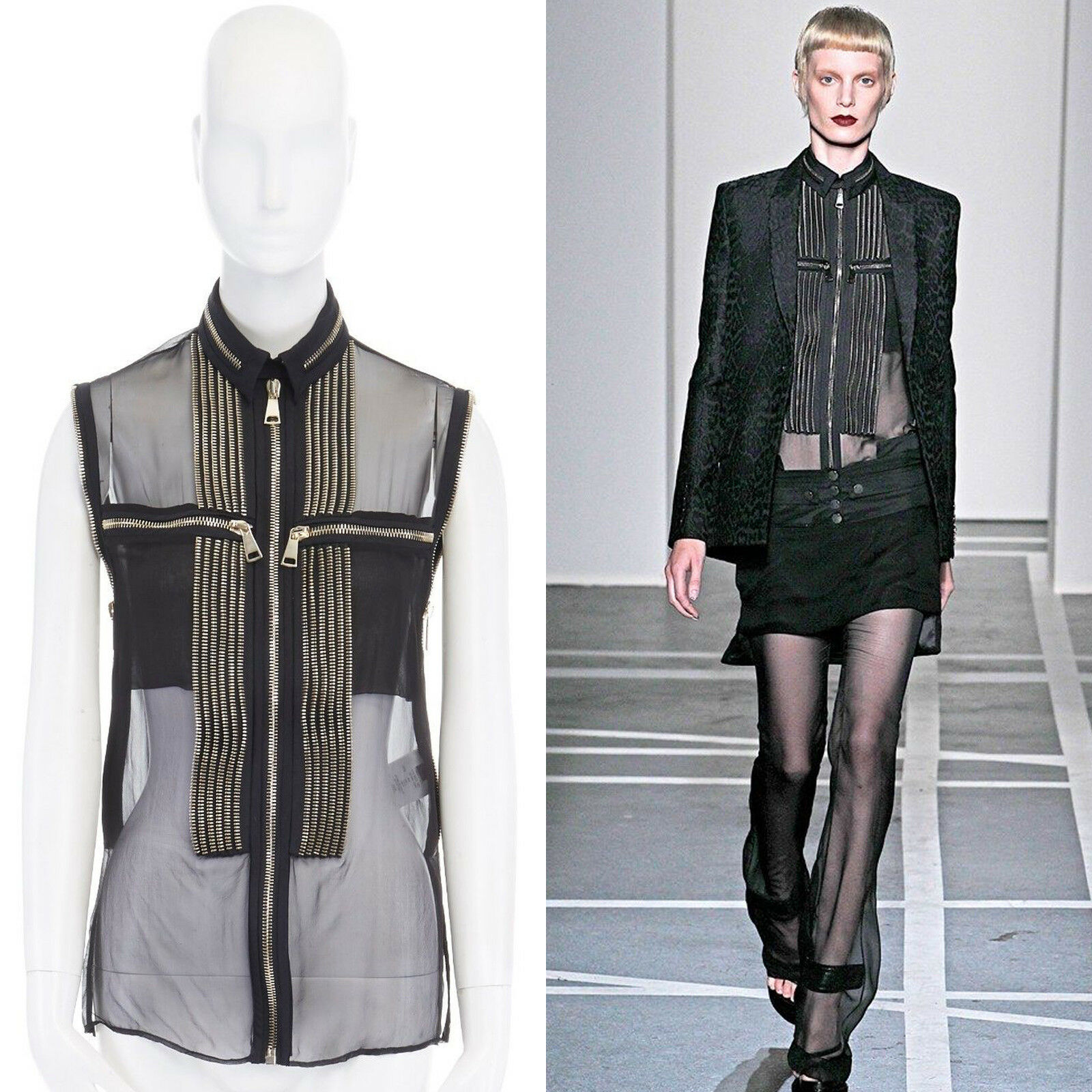 Runway GIVENCHY TISCI SS11 punk gold zipper trim sheer silk blouse top IT38 XS