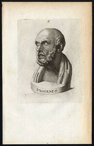 Details About Antique Print Diogenes Of Sinope Cynic Heidegger Lavater 1781