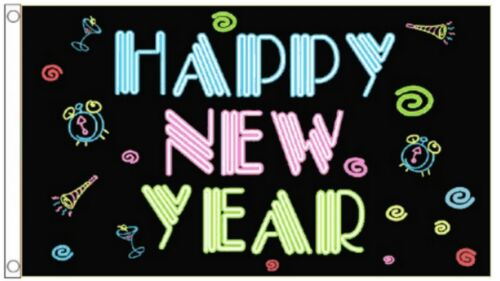 Happy New Year 2020 Christmas Neon 5/'x3/' Flag
