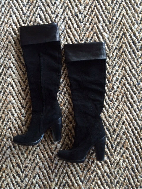 1230 COSTUME NATIONAL Black Genuine Leather Suede Boots Made Made Made in  Size 6 8d8c53
