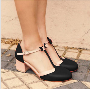 Bowknot-Women-Mid-Heels-T-strap-Round-Toe-Patchwork-Chunky-Buckle-Mary-Jane-Shoe