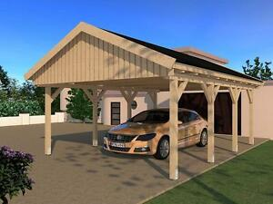 carport satteldach le mans v 500x600cm konstruktionsvollholz kvh bausatz fichte ebay. Black Bedroom Furniture Sets. Home Design Ideas