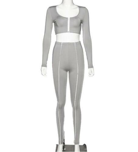 2Color reflective Tracksuit Solid Color Long Sleeve Zipper Crop T-shirt+Pant