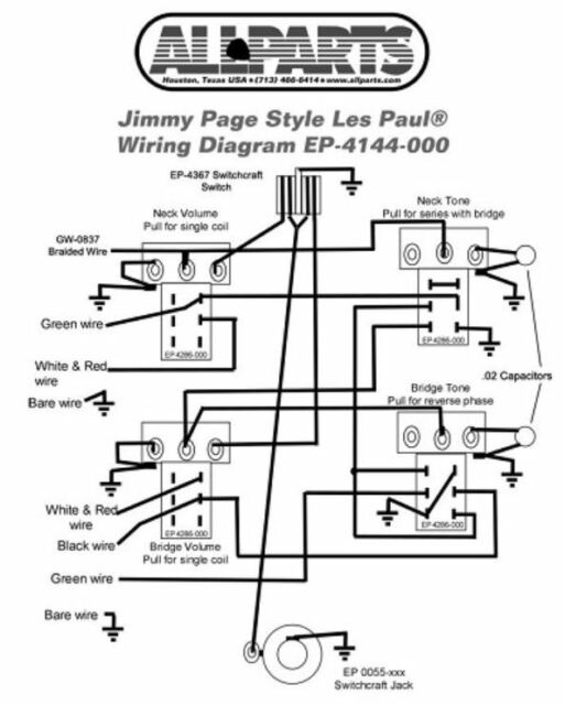 wiring kit for gibson jimmy page les paul complete w diagram pots rh ebay com sub wiring kit diagram painless wiring kit diagram