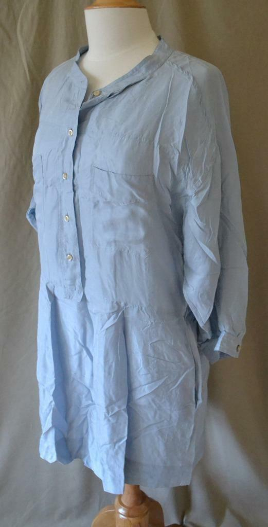 Isabel Marant Etoile Lt. bluee Silk Silk Silk Dress Sz M 48b311
