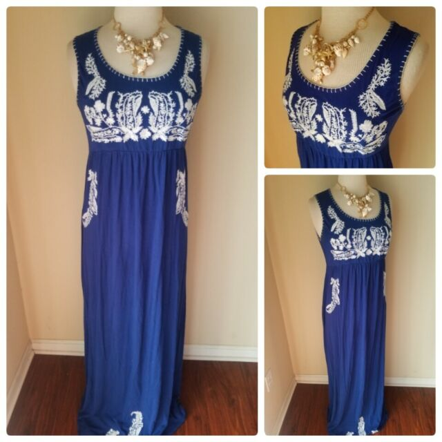 Chelsea & Theodore Women's Maxi Dress Empire Waist Royal Blue Embroidered M