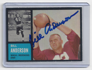 1962-REDSKINS-Bill-Anderson-signed-card-Topps-169-AUTO-Autographed-packers