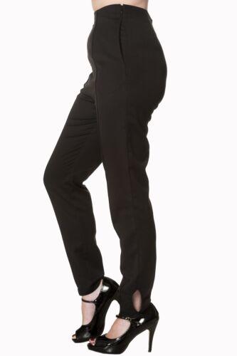 WOMEN'S Nero Vintage Con 1950s Vita Alta Slim Fit Pantaloni in Banned Apparel
