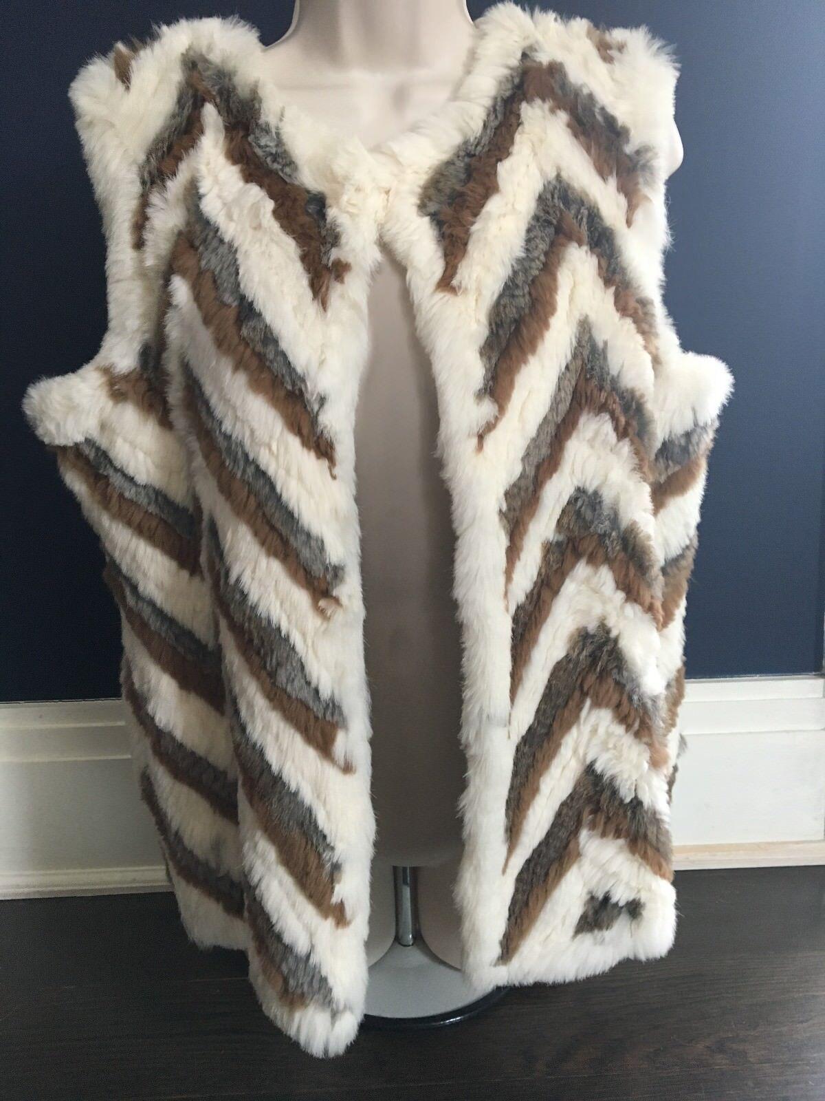 J McLaughlin 100% Rabbit Fur and Merino Wool Chevron Vest M L