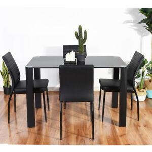 120cm Noir Verre Trempe 4 6 Places Maison Meubles Tables Cuisine