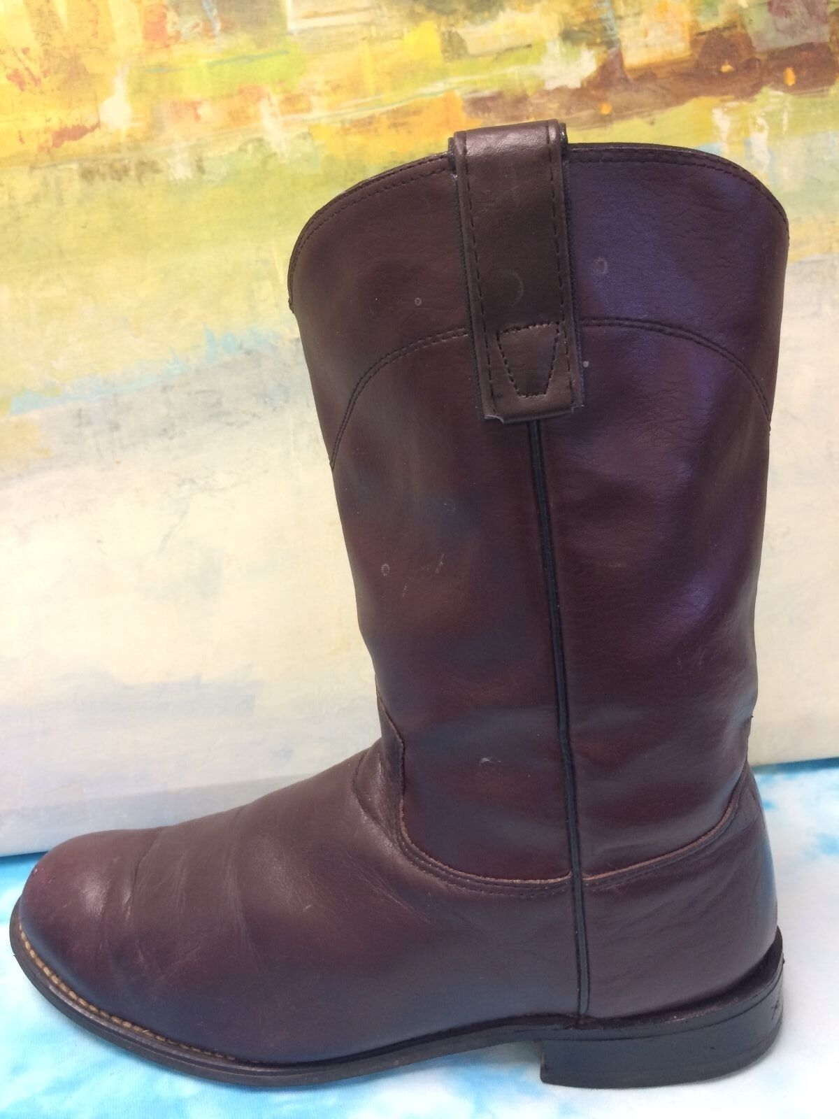TEXAS BOOTS LADIES BURGUNDY ROPER BOOTS 4453 WESTERN8 M made in USA