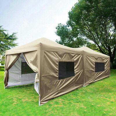Upgraded Quictent 10x20 Ez Pop Up Canopy Tent Beige Party