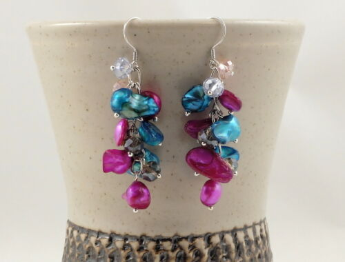 Colourful Freshwater Pearl /& Seashell Beads Sterling Silver Earrings