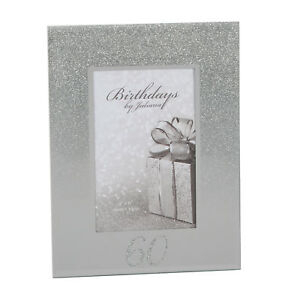 Silver-Glitter-amp-Mirror-4-039-x6-039-Photo-Frame-with-Number-60th-Birthday