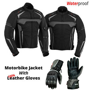 Motorcycle-Waterproof-Cordura-Textile-Jacket-with-Original-Leather-Gloves-Grey