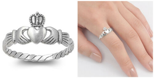 Argent Sterling 925 Pretty Claddagh cœur design Promesse Bague Tailles 3-12