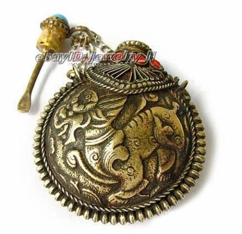 Asian Tribal Tibet bronze old Turquoise Snuff Bottle