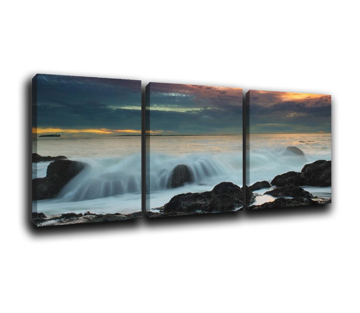 Seascape  Sunset Landscape Canvas Wall Art Print treble box framed Picture 4