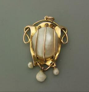 Art nouveau 9ct goldblister pearl baroque pearl pendant ebay image is loading art nouveau 9ct gold blister pearl amp baroque mozeypictures Gallery