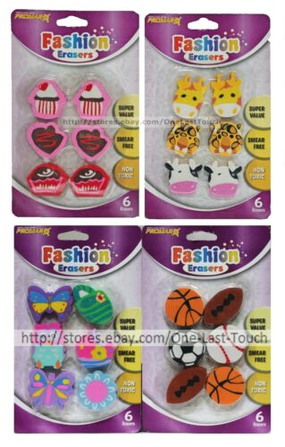 PROMARX* 6pc Set FASHION ERASERS Great For School NON TOXIC Carded *YOU CHOOSE*