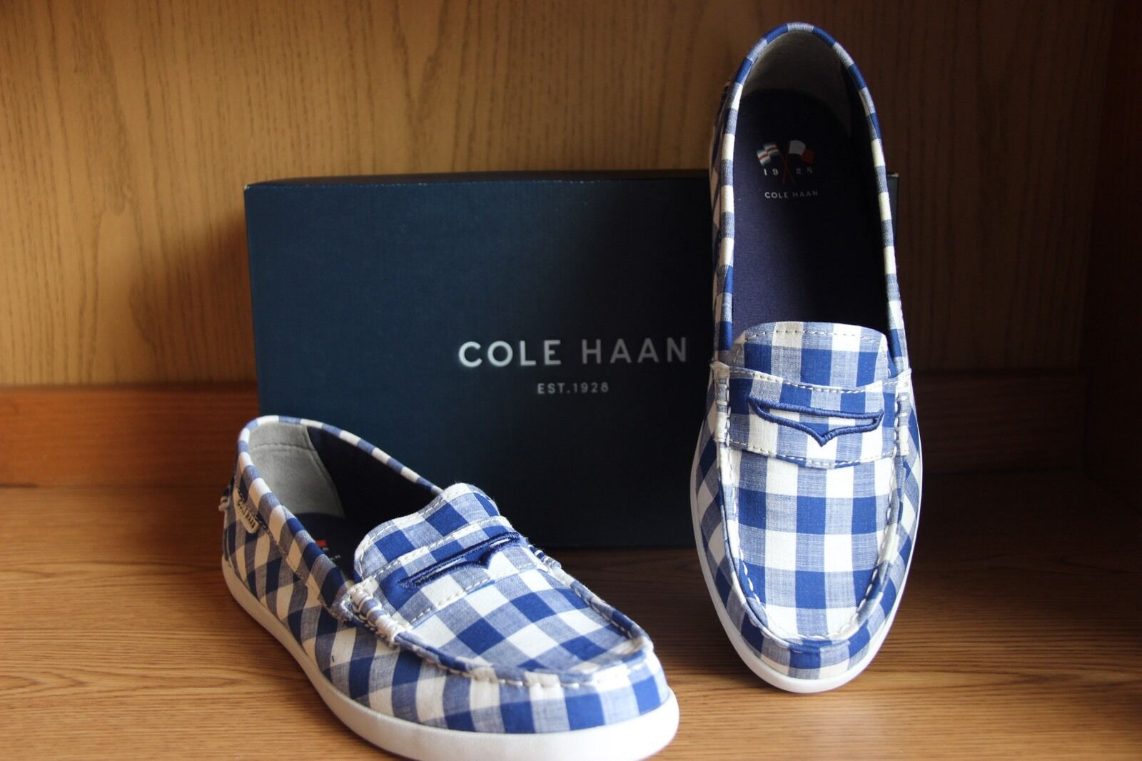Cole Haan Nantucket Loafer Blue/White Gingham Women Size 10.5  WO2520