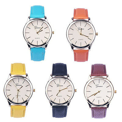 7 Colors Women Geneva Watch Leather Analog Quartz Watch Fashion Dress Wristwatch