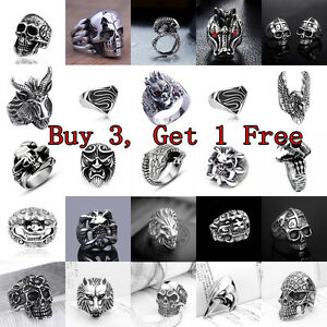 Fashion-Men-039-s-Stainless-Steel-Silver-Cool-Gothic-Punk-Biker-Finger-Rings-Jewelry
