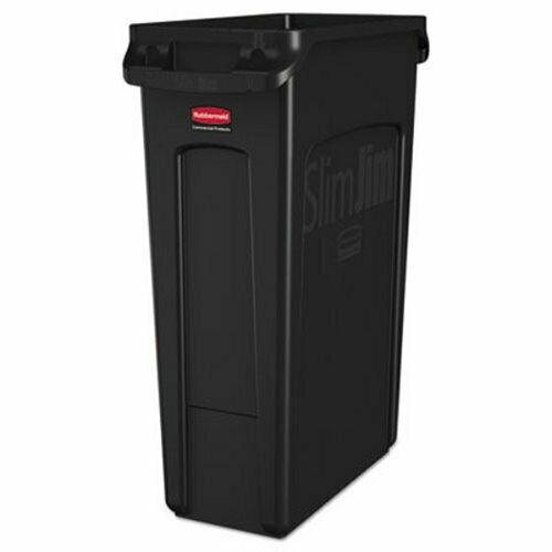 RCP 3540-60 BLA Rubbermaid 3540-60 Slim Jim 23 Gallon Trash Can w//Vents Black
