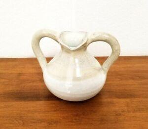 Handmade-Vintage-Glazed-Stoneware-Pottery-Double-Handled-Pitcher-Jug-Vase-Decor
