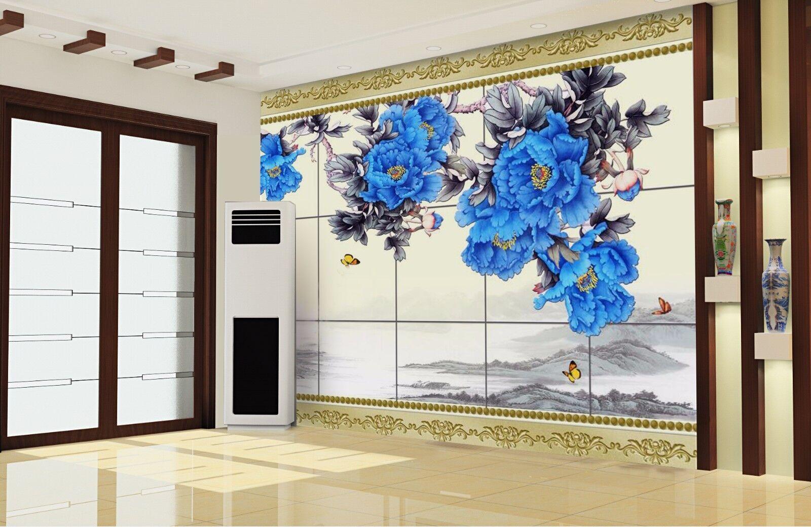 3D Blau Peony Hills 87 Wall Paper Murals Wall Print Wall Wallpaper Mural AU Kyra