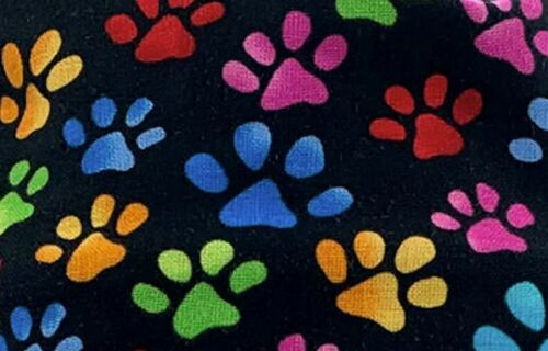 Cool Cap Surgical Chemo Big Hair Bright Paws on Black by Sparkling Earth